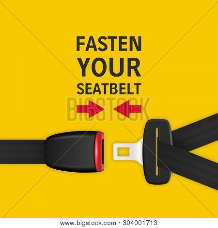 Vector Background With 3d Realistic Unblocked Passenger Seat Belt Clopeup Isolated On Yellow. Fasten