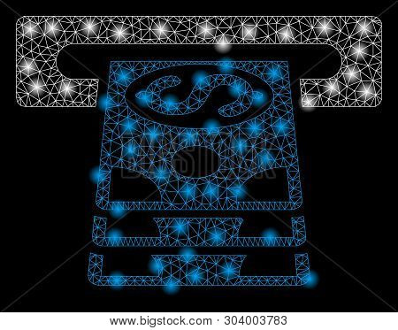 Bright Mesh Bank Cashpoint With Glare Effect. Abstract Illuminated Model Of Bank Cashpoint Icon. Shi