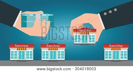 Two Human Hands Changing Money For Small Store Or Franchise. Franchise Business Concept Vector Illus