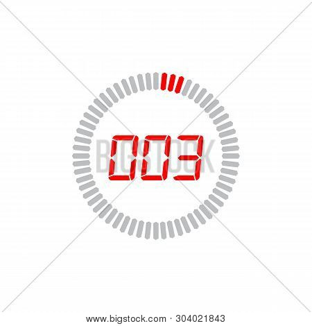 The 3 seconds icon isolated on white background. The 3 seconds icon simple sign. The 3 seconds icon trendy and modern symbol for graphic and web design. The 3 seconds icon flat vector illustration for logo, web, app, UI.