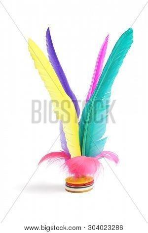 Kick Feather Shuttlecock on White Background