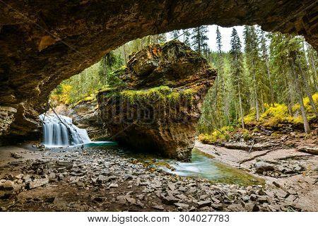 Johnston Canyon Falls In Banff National Park, Canadian Rockies, Alberta,canada