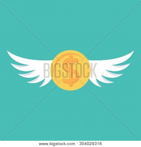 Coin With Wings. Fly Dollar. Money Flying. Metaphor Of Spending Money. Vector Illustration Flat Desi