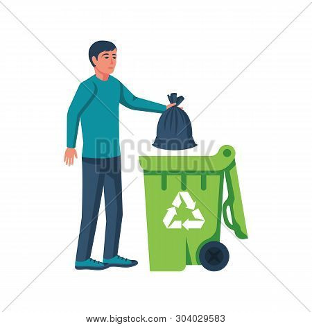 Man Throwing Trash Bags In Container. Vector Illustration Flat Design. Isolated On White Background.