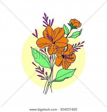 Golden Flower Illustration. Golden Flower, Contour Flower, Bloom Flower, Decorative Flower, Isolate