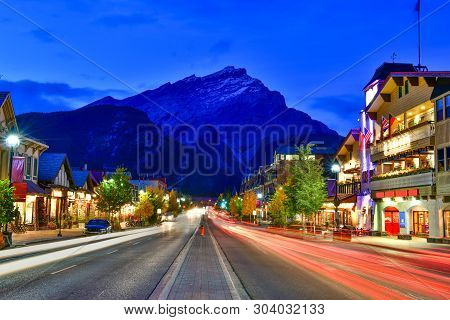 Street View Of Famous Banff Avenue At Twilight Time.canada