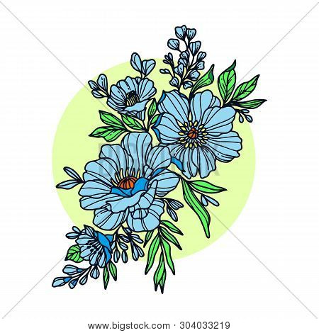 Graphical Black Flower Illustration. Black Flower, Contour Flower, Bloom Flower, Decorative Flower,
