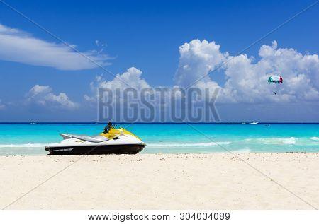 Jetski On The Beach Of Holiday Season.