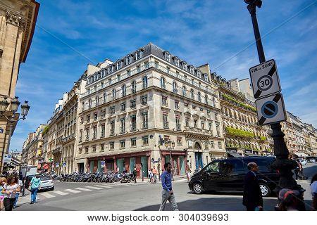 Paris, France - June 29, 2015: The Streets Of Rue De La Paix And Rue Des Capucines. Beautiful Facade