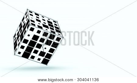 Abstract Geometric Shape, Copyspace, Black And White (3d Render)