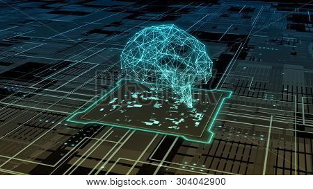 Abstract Circuit Board With A Cpu, Data Flow And A Human Brain In Wireframe Style (3d Render)