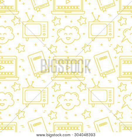 Vector Movie Genre Surface Seamless Pattern Simple Design