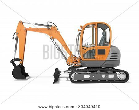 Orange Mini Tracked Excavator Left View 3d Render On White Background With Shadow