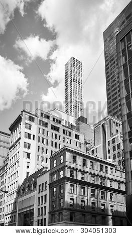Black And White Picture Of New York City Diverse Architecture.