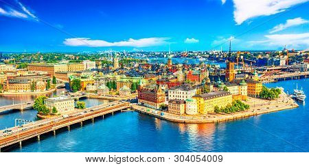 Beautiful Aerial View Of Stockholm Old Town Gamla Stan From The City Hall Stadshuset. Beautiful Summ