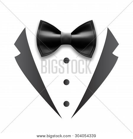 Black Details Of Man Wedding Suit Tuxedo Vector. Design Bow Tie, Collar And Buttons Elegance Accesso