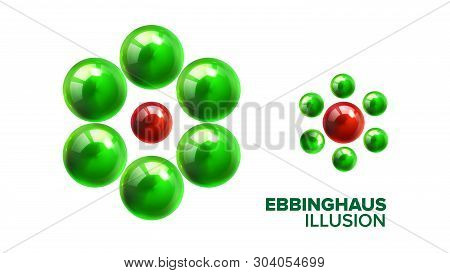 Optical Ebbinghaus Illusion With Balls Vector. Visual Illusion With Smaller Or Bigger Glossy Green A