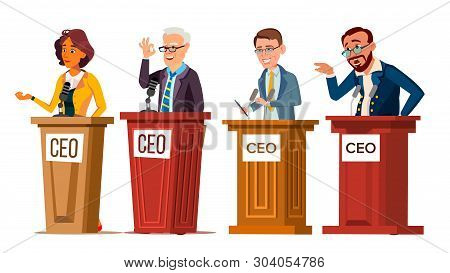 Character Ceo Talking From Tribune Set Vector. Man And Woman Orator Ceo Public Speaking From Rostrum