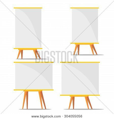 Business Blank Training Paperboard Set Vector. Collection Of Different Size Paperboard For Presentat