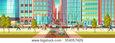 Modern City Street At Hour Rush Cartoon Vector Concept. People Hurrying In Business, Townsfolk Walki