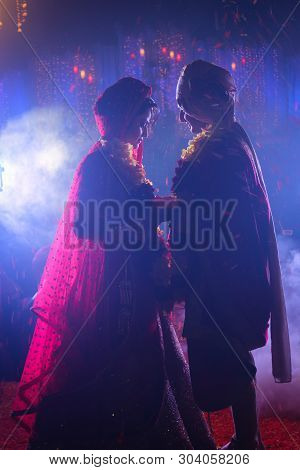 Jaipur, Rajasthan, India- Dated: May 15, 2019- A Royal Indian Couple Getting Married. Indian Bride S