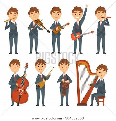 Musicians Boys Playing Different Musical Instruments Set, Talented Children Characters Playing Flute