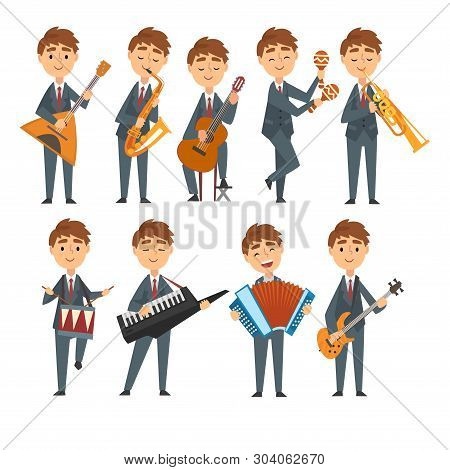 Musicians Boys Playing Different Musical Instruments Set, Talented Children Characters Playing Balal