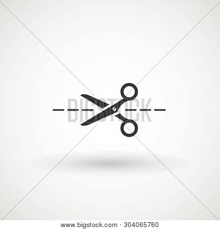 Scissors With Cut Lines Icon. Cutting Scissors Icon. Vector Illustration. Isolated On White Backgrou