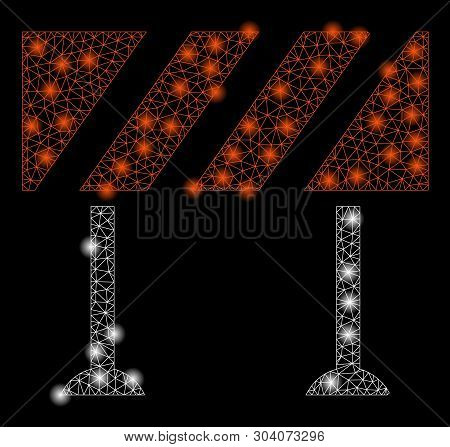 Bright Mesh Barrier With Glare Effect. Abstract Illuminated Model Of Barrier Icon. Shiny Wire Carcas