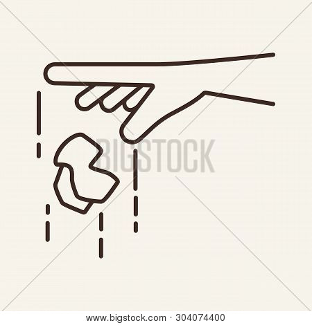 Hand Throwing Litter Line Icon. Hand, Trash, Recycling. Environmental Pollution Concept. Vector Illu