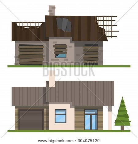 House Before And After Reconstruction On A White Background. Old And New. Vector Illustration.
