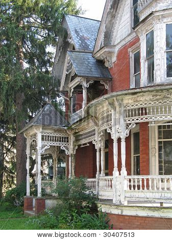Dilapidated Victorian house appears