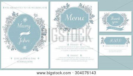 Wedding Invitation Card With Light Blue Japanese Chrysanthemum