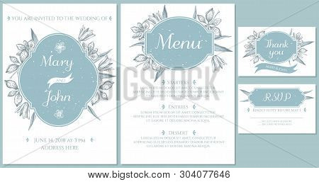 Wedding Invitation Card With Light Blue Blackberry Lily