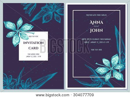 Wedding Invitation Card With Blue Blackberry Lily