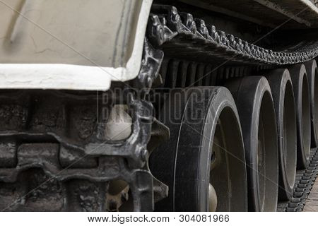 Continuous track (tank tread, caterpillar track) of the soviet tank (Second World War period). Historical armoured fighting vehicle. Close-up. poster