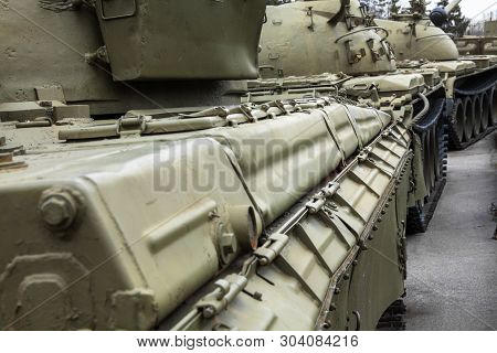 Soviet tank (Second World War period). Historical armoured fighting vehicle. Close-up. poster