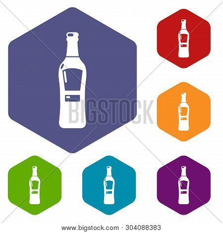 Bourbon Icons Vector Colorful Hexahedron Set Collection Isolated On White