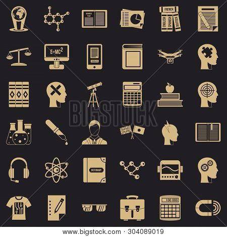 Studying Icons Set. Simple Style Of 36 Studying Vector Icons For Web For Any Design