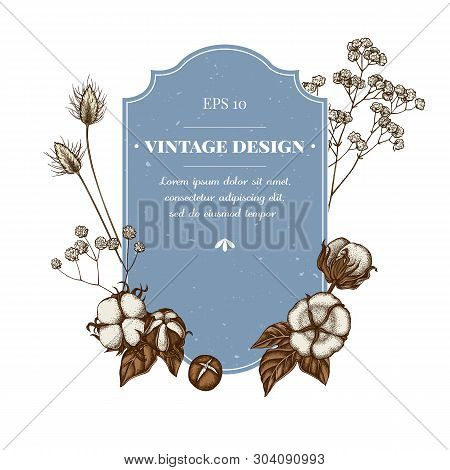 Badge Design With Colored Lagurus, Cotton, Gypsophila