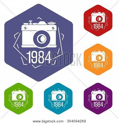 1984 Photo Camera Icons Vector Colorful Hexahedron Set Collection Isolated On White