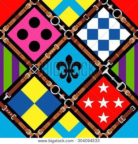 Seamless Pattern Jockey Uniform. Traditional Design. Silk. Harness, Bridle, Harness, Belt. Horse Rac