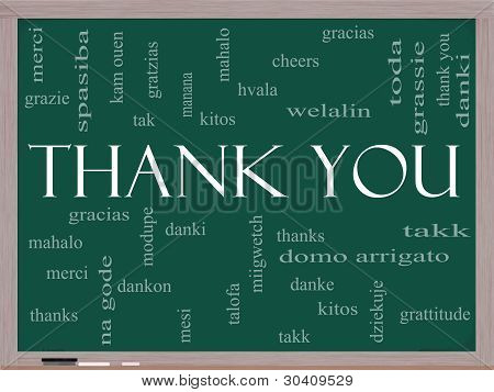 Thank You Word Cloud Concept on a Chalkboard with great terms in different languages such as mahalo danke gracias kitos and more. poster