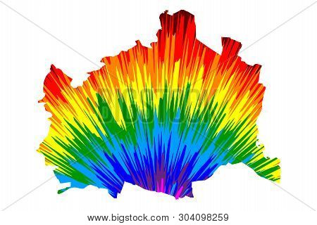 Vienna (republic Of Austria, Wien, Capital City And State) Map Is Designed Rainbow Abstract Colorful