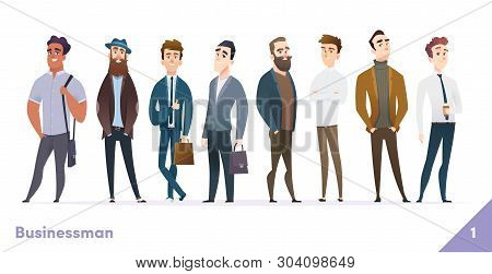 Businessman Or People Character Design Collection. Modern Cartoon Flat Style. Males Or Manegers Stan