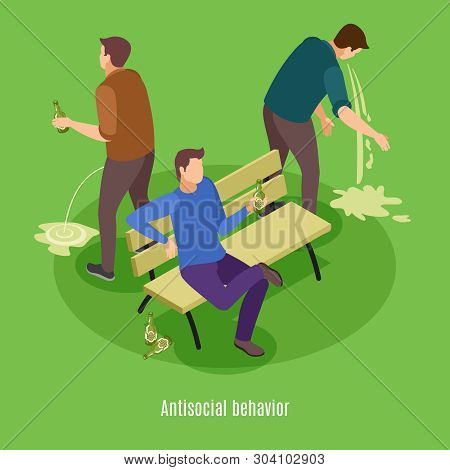 Alcoholism Signs Symptoms Intoxication Vomiting Isometric Background Poster With Addicted To Excessi