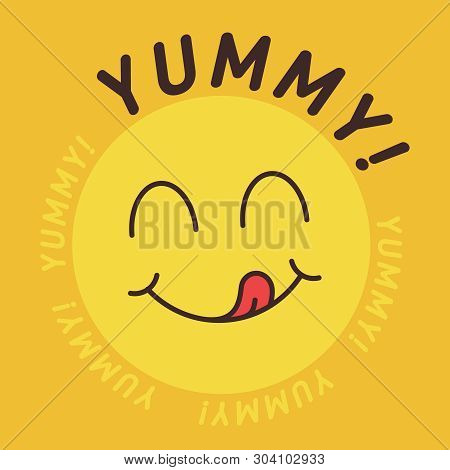 Yummy Smile Emoticon With Tongue Lick Mouth. Tasty Food Eating Emoji Face. Delicious Cartoon With Sa