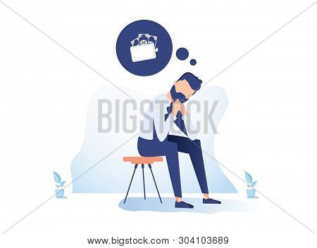 Money Problem Financial Trouble Flat Illustration. Depressed Businessman In Need Cartoon Character.