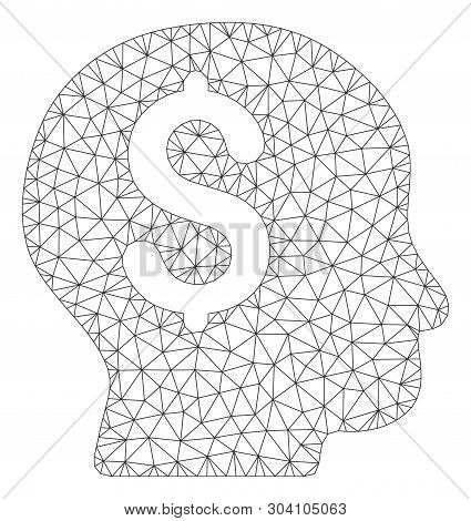 Mesh banker model icon. Wire carcass triangular mesh of vector banker isolated on a white background. Abstract 2d mesh designed with triangular lines and circle nodes. poster