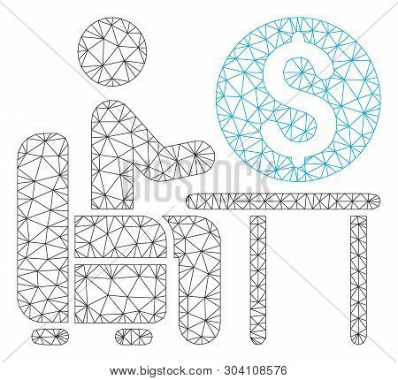 Mesh banker office model icon. Wire carcass triangular mesh of vector banker office isolated on a white background. Abstract 2d mesh designed with triangular lines and dots. poster